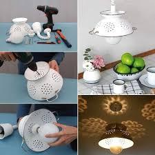 diy pendant lighting. DIY Pendant Lamp Made From A Colander Diy Lighting