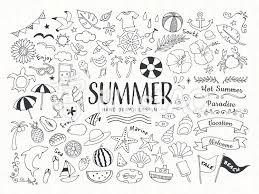 夏と海の手描きの線画イラストセットイラスト No 1549293無料