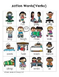 Action Words Chart With Pictures Writing Folder Verbs Action Words