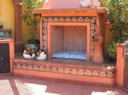 outdoors fireplace decorated using mexican tile mexican home decor gallery mission accesories copper