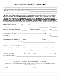 3 Days Pay Or Quit Form California 3 Day Notice To Pay Rent Or Quit Free Download