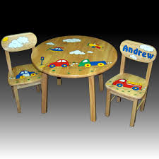 natural round children s table chairs personalized picture 3 4