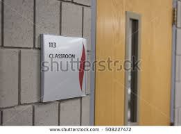 classroom door with window. Outside Of Classroom Door At University Or School. With Window