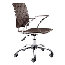 White Rolling Chair Criss Cross Espresso Office Chair
