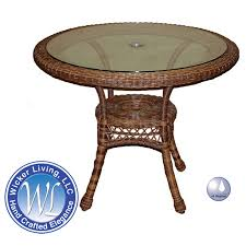 outdoor round wicker dining table 36 in