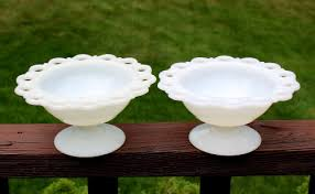 save this item for viewing later view larger image vintage anchor hocking old colony milk glass lace edge pedestal bowl