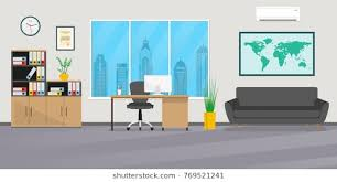 modern business office desks. Brilliant Desks Office Interior In Flat Style Modern Business Workspace With Office  Furniture Chair Desk For Business Desks E