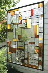 large stained glass panels stained glass window panel mission style warm tones x large framed stained