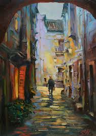 sicilian night narrow alley cityscape oil painting street scene of sicily italy