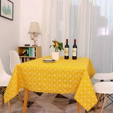 yellow chessboard decorative table cloth cotton rural tablecloths rectangular dinner table cover coffee table tea home