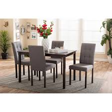baxton studio andrew modern and contemporary 5 piece grey fabric upholstered grid tufting dining set on orders over 45 overstock