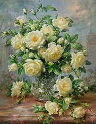 princess diana roses in a cut glass vase painting albert williams princess diana roses in
