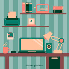 free office wallpaper. Retro Wallpaper Office Space Flat Design Free Vector