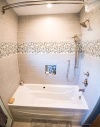guest bathroom remodel.  Bathroom Guest Bathroom Remodel With Mosaic Bubbles And Jetted Tub Inside