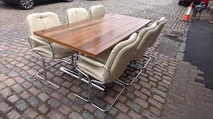 vintage 60s designer pieff eleganzer rosewood t bar dining table orig leather chrome dining chairs