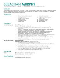 Aviation Technician Resume Templates Templates Resume Examples