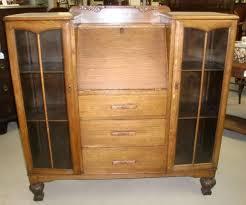 antique oak double bookcase drop front secretary desk