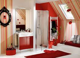 red bathroom color ideas. Bathroom:Amazing Red Bathroom Ideas Using Oval White Bathtub Over Chandelier Also Gloss Color O