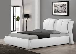 Sunset Modern White Leather Bed