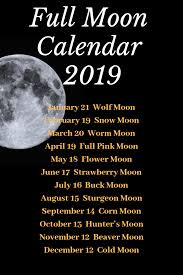 Wiccan Moon Chart Full Moon Calendar 2019 By Mad Witch Supplies Northern