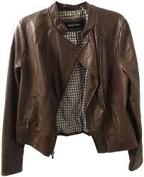 black rivet brown vegan leather moto jacket