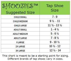 Tap Shoe Size Chart Shoozies Size Chart