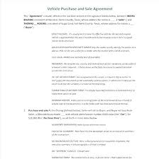 Home Sales Agreement Template Sale Contract Auto Used Car