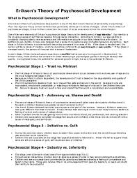 Pdf Eriksons Theory Of Psychosocial Development Muhammad