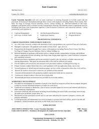 Transition Specialist Sample Resume Career Transition Specialist