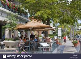 Outdoor restaurant on 3rd street south in naples florida stock image