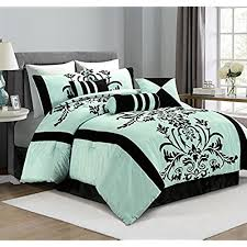 double bed comforter. Contemporary Comforter Chezmoi Collection 7Piece Aqua With Blue And Black Floral Flocking BedinaBag  Comforter Set FullDouble Inside Double Bed B