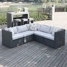 Small Picture Handy Living Aldrich Grey IndoorOutdoor 5 piece Sectional Set by