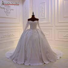 Beaded Designer Wedding Gowns Us 595 0 New Designer Bridal Dress Weeding Dress Satin With Lace Full Beading Bodice In Wedding Dresses From Weddings Events On Aliexpress