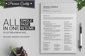 all in one single page resume pack  resume templates on creative    all in one single page