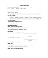 Holiday Request Form Extraordinary Request Form Template