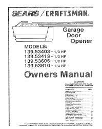 craftsman 139 5361 owners manual