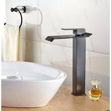 square tall single handle waterfall bathroom sink faucet dark oil rubbed bronze kokols bathtub shower set