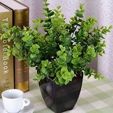 7thLake Artificial Flower Plastic 7 <b>Fork Eucalyptus Money</b> Leaf ...