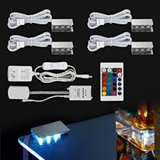 glass shelf lighting. RGB LED Glass Edge Lighting Kit: 4pcs Shelf Lights + Controller
