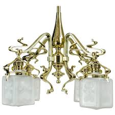 very beautiful jugendstil fl chandelier with original glasses circa 1908