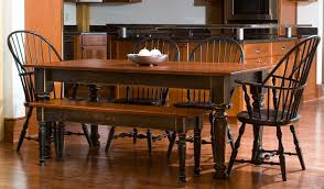 farmhouse tables with red cherry top black base turned legs matching bench windsor arm chairs