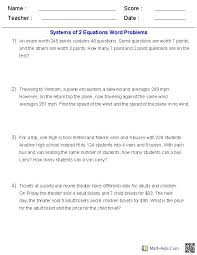 systems of two equations word problems