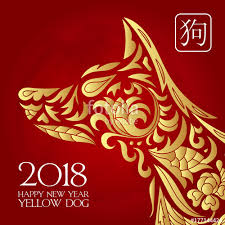 Happy Chinese New Year Card Is Chinese Lantern And Dog Zodiac In