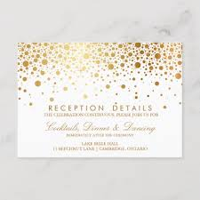 wedding reception card faux gold foil confetti wedding reception card zazzle com au