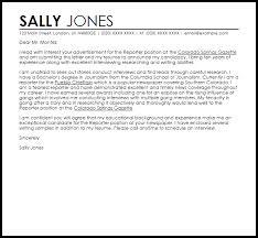 Reporter Cover Letter Under Fontanacountryinn Com