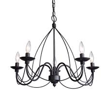artcraft lighting wrought iron 5 light chandelier