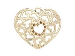 gold finish heart pattern charm with smoked topaz swarovski crystals