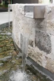 Modern Water Well Design Water Feature Rustic Stone With Bright Steel Wells Water