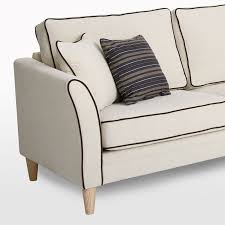 isla corner sofa by softnord curved arm with contrast piping