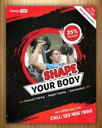 Gym Brochure Template Fitness Fold Open Flyer – Margines.info
